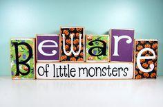 Beware of Little Monsters   Halloween Wood by LastDayofForeverHome, $33.50