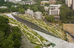 EWHA Woman's University is a Green-Roofed Constructed Canyon in Seoul