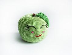 Crochet green happy apple  /Soft от LittleSweetCandyShop на Etsy, $12.00