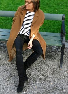 stripes + camel coat