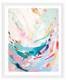 An abstract work by artist Britt Bass Turner, composed of soft tones accented with brighter hues. Layers of color and loose brushwork add movement and dimension to the piece. This is a fine print...
