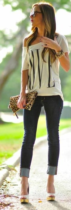 Off the shoulder love tee, cuffed dark wash skinny jeans, peep toe wedges & leopard print clutch