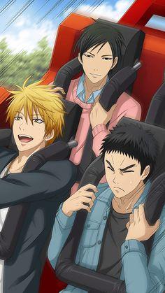 just mori looking all cool and kasa what a cutie he's got his eyes all closed and everything aww ilu baby I Love Anime, All Anime, Anime Manga, Anime Guys, Kuroko No Basket, Wallpaper Animé, Kise Ryouta, Ryota Kise, Akashi Seijuro