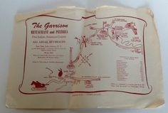 The Garrison Placemat Restaurant Pizzeria Lake George NY Vintage Map Upstate
