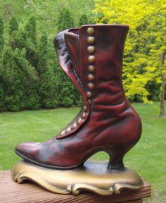Vintage Ceramic Victorian Lady's High Heel Boot Planter Vase Matchstick Holder