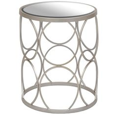 Silver Circles Mirrored Side Table ($90) ❤ liked on Polyvore featuring home, furniture, tables, accent tables, geometric side table and top table