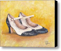 1920s Cap Toe Mary-janes Stretched Canvas Print / Canvas Art By Cecely Bloom