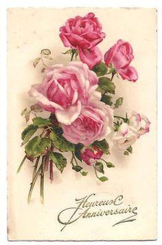Vintage old postcard pink white Rose flower painting Floral Vintage, Art Vintage, Vintage Paper, Vintage Flowers, Vintage Prints, Decoupage Vintage, Vintage Greeting Cards, Vintage Postcards, Flower Prints