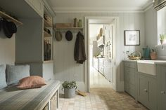 In this historic English country house Sims Hilditch design team took inspiration from the beautiful Victorian tiles that lay on the entrance hall floor. Country Interior Design, Interior Design Services, Interior Ideas, Boot Room Storage, Hall Flooring, British Countryside, Elegant Homes, Mudroom, Home And Family