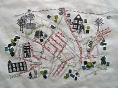 Embroidery map of a neighborhood. Would make a great house-warming gift, if you were crafty. Embroidery Map, Cross Stitch Embroidery, Embroidery Patterns, Machine Embroidery, Map Quilt, Contemporary Embroidery, Textiles, Art Textile, Sewing Art