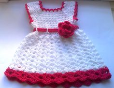 Baby Dress in white and pink  Girl Clothes Baby by paintcrochet, $35.00