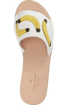 Inspired by the tropics and topped with dancing bananas, this flat slide sandal is easy to slip on and off, and just perfect for strolling down the sidewalk or boardwalk.