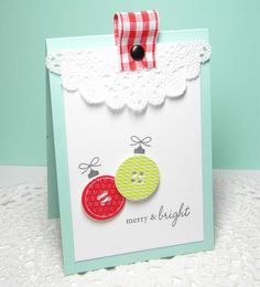 Merry & Bright Handmade Card. I love the folded ribbon with brad detail.