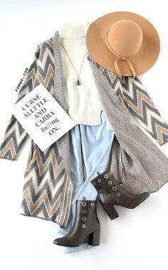 Khaki Chevron Pattern Collarless Long Cardigan with white high neck sweater and blue denim from romwe.com