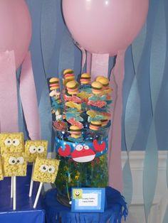 Spongebob Party, Krabby Patty Cake, Spongebob Rice Krispy, Krabby Patty and Sea Creature Gummy Kabobs.
