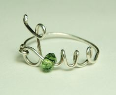 love wire ring sterling silver   green faceted crystal by keoops8, velentines's day