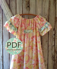 Betsy - Girl's Peasant Dress PDF Pattern. Girl's Sewing Pattern.Tutorial Easy Sew Sizes 12m-10 included