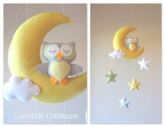buo Baby Crafts, Felt Crafts, Owl Mobile, Sewing Projects, Projects To Try, Felt Owls, Felt Baby, Felt Patterns, Felt Fabric