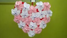 Paper Flower Wall Hanging Craft Ideas | DIY Hanging Flower Showpiece Decoration