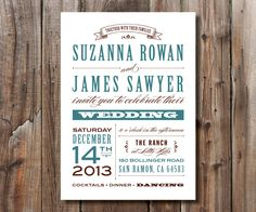 Rustic Printable Wedding Invitation DIY by SimplyFetchingPaper, $18.00