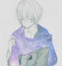 Shion, No.6, anime boy, shounen ai, scarf, illustration. Edit: removed colour aside from the scar, added star/space texture to the scarf (it took a while yikes). Original by しく@ついった on Pixiv.