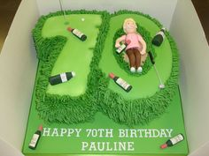 Small Number 70 shaped cake with a golf course theme. Modelled golfer with sand bunker and hole with little golf ball and bottles of booze scattered on cake. Special Birthday, Dad Birthday, Birthday Cakes, Gifts For Golfers, Golf Theme, Golf Party, Number Cakes, Celebration Cakes, Themed Cakes