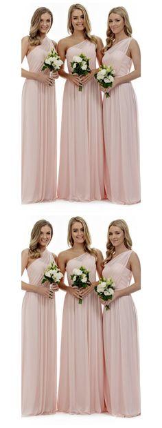 Blush pink bridesmaid dresses, one shoulder bridesmaid dresses, Long bridesmaid dresses, chiffon bridesmaid dresses, simple bridesmaid dresses, 17095