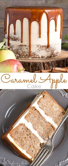 Kick off apple season with this delicious Caramel Apple Cake! A spice cake made with diced apples, paired with a caramel buttercream, and caramel drizzle. | livforcake.com via @livforcake