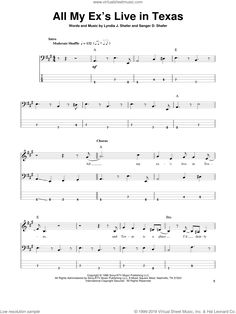 Strait - All My Ex's Live In Texas sheet music for bass (tablature) (bass guitar) Bass Guitar Sheet Music, Bass Guitar Notes, Bass Clarinet, Digital Sheet Music, Sebastian Bach, George Strait, Texas, Live, Tablature
