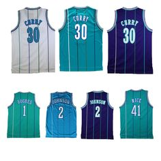 Aliexpress.com   Buy Charlotte  30 Dell Curry  2 Larry Johnson  1 Muggsy  Bogues  41 Glen Rice White Green Blue Throwback Jersey cf7741e9b