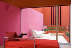 A warm orange house.