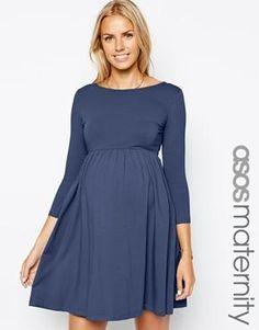 6db9369d4 ASOS Maternity Skater Dress With Slash Neck And 3 4 Sleeves Moda Premama