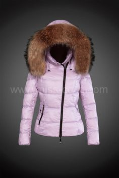 2014 Moncler Short Women Down Jackets Pink Zipper Long-sleeved Big Fur  Stand Collar d296631d567