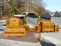 Antique Leo Jiranek Satinwood Oak Art Deco Waterfall Bedroom Set