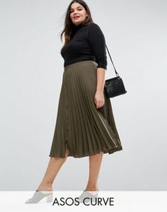 ASOS CURVE Button Through Pleated Midi Skirt