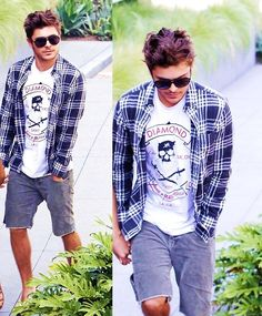 Zac Efron's style: graphic Tshirt, plaid shirt and shorts