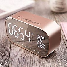 Digital Alarm Clock with Bluetooth Speaker, Fozela Digital Alarm Clock, Dual 3W Driver Stereo Speaker Enhanced Bass with Large LED Display, Support FM Radio, Built-in Mic,Hands-free Call & TF & AUX & USB (Rose gold): Amazon.co.uk: Kitchen & Home