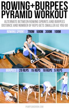 Rowing & Burpees Pyramid Workout