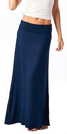 Popana Super Soft Maxi Skirt Large in Navy - Made In USA