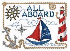 Cross Stitch Borders All Aboard Nautical cross stitch pattern. - All Aboard Nautical cross stitch pattern. This would make a nice pillow for your seaside decor. Cross Stitch Heart, Cross Stitch Borders, Cross Stitch Kits, Cross Stitch Designs, Cross Stitching, Cross Stitch Embroidery, Cross Stitch Patterns, Modern Embroidery, Crochet Borders