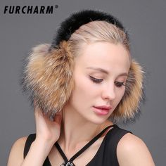 FURCHARM Real Fox Fur Ear Muffs Winter Earmuffs Warmer for Girls Genuine Fur Earmuffs Natural Fox Fur Earmuff Headphones Women
