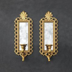 Gold Mirror Sconces - Ornate Wall Candle Holders - Smokey Mirrors - Floral Details - Rectangular - Vintage Homco by TheCherryAttic on Etsy
