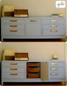 painted credenza w/ gold hardware