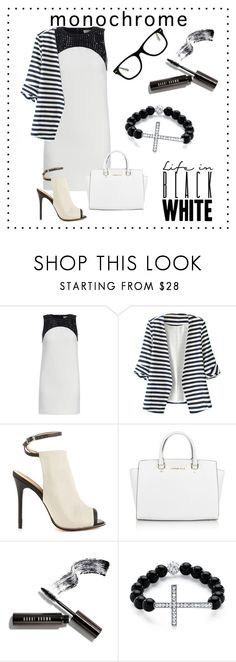 """""""#black #white #monochrome"""" by fashionlibra84 ❤ liked on Polyvore featuring Michael Kors, WithChic, L.A.M.B., Bobbi Brown Cosmetics, Palm Beach Jewelry, Muse and monochrome"""