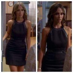 """Melinda Gordon's (Jennifer Love Hewitt) black dress with leather straps on Ghost Whisperer Season 5 Episode 3 """"Till Death Do Us Start"""""""
