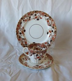 Art Deco Vintage  Antique David  Chapman and Sons Imari  Tea Trio  from  1894  Made In England by TheMewsCottage on Etsy