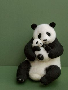 needle felted panda! Needle felting is so fun and it is easy to do!