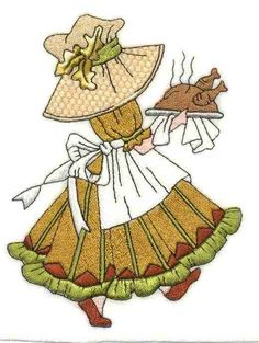 Sunbonnet Sue Months of the Year - November Más Machine Embroidery Projects, Free Machine Embroidery Designs, Quilting Projects, Quilting Designs, Quilting Patterns, Block Patterns, Bag Patterns, Applique Quilts, Embroidery Applique