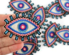 Evil Eye Embroidered Patch / Iron-On Applique by WildflowerandCompany on Etsy… Iron On Embroidered Patches, Iron On Applique, Embroidery Patches, Custom Embroidery, Hand Embroidery, Embroidery Designs, Machine Embroidery, Diy Patches, Cool Patches