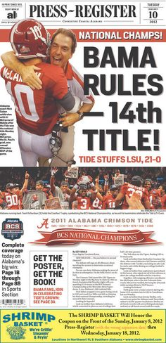 Alabama defeats Notre Dame for National Championship title January 7, 2013